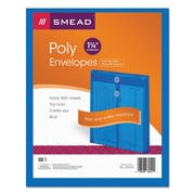 Smead® Poly String & Button Interoffice Envelopes, Transparent Blue, 5/Pack (89542)