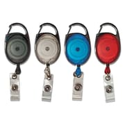 Advantus Carabiner-Style ID Card Reel, 5 Each- Blue, Clear, Red, Smoke, 20/Pk