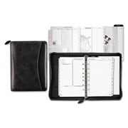 Day-Timer® Woven Vinyl Starter Set, Zipper Closure, 5 1/2 x 8 1/2, Simulated Leather/Vinyl, Black (D40671)