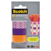"Scotch® Expressions Magic™ Tape, Starburst; Orange; Purple, Glues/Adhesives, 3/4"" x 300"", 3/Pack (C2143PKJK1)"