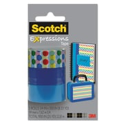 "Scotch® Expressions Magic™ Tape, Dots; Dark Blue; Medium Blue, Glues/Adhesives, 3/4"" x 300"", 3/Pack (C2143PK9)"