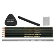 Prismacolor® Scholar™ Erasable Colored Pencil Set, 4B; 4H; 2B; 2H; 6B 4B; 4H; 2B; 2H; 6B, 2 mm, Black, 9/Pack (1774264)