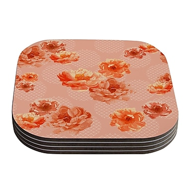 KESS InHouse Lace Peony by Pellerina Design Coaster (Set of 4); Peach