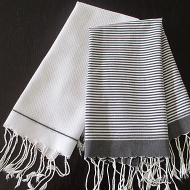 Scents and Feel Lurex Fouta Hand Towel (Set of 2); Black / White