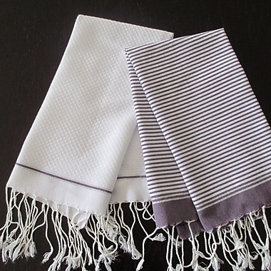 Scents and Feel Lurex Fouta Hand Towel (Set of 2); Violine / White
