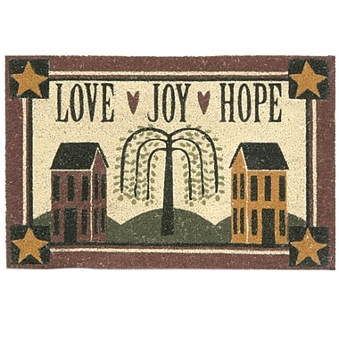 Bacova Guild Koko Bleach Love Joy Hope Doormat