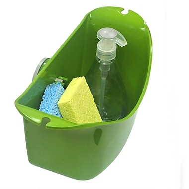 Wall Mates Push 'N Stay Oval Suction Sink Organizer; Green