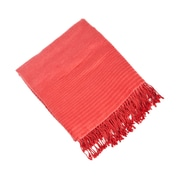 Saro Striped Design Rayon from Bamboo Throw; Rouge