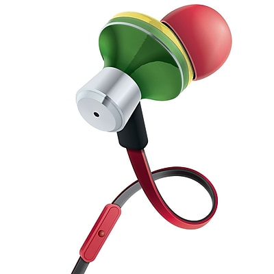 Gogroove AudiOHM iDX Rasta Earbuds with Ergonomic In-Ear Design Red