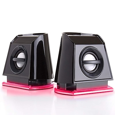 GOgroove Bass Pulse 2MX GGBP2MX100RDUS Laptop Speakers, Red & Black