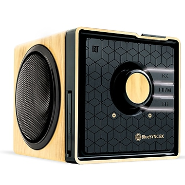 GOgroove Bluetooth GGBSTYM200BDUS Stereo Speaker & Wooden Alarm Clock, Bright LED Display