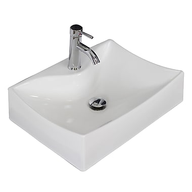 American Imaginations Ceramic Rectangular Vessel Bathroom Sink; Brushed Nickel