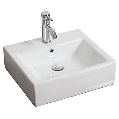 American Imaginations Ceramic Rectangular Vessel Bathroom Sink w/ Overflow; Antique Brass