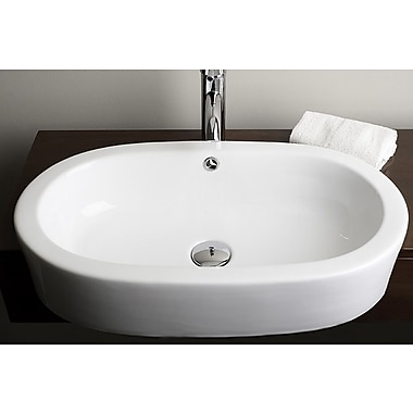 American Imaginations Ceramic Oval Vessel Bathroom Sink w/ Overflow; Gold