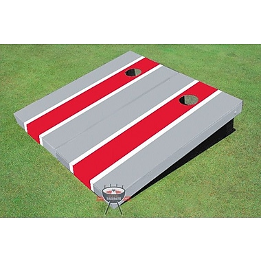 All American Tailgate Matching Long Stripe Cornhole Board (Set of 2); Red and Gray