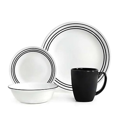 Corelle Livingware 16 Piece Dinnerware Set, Service for 4; Onyx Black