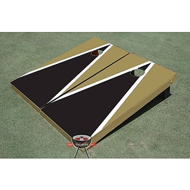 All American Tailgate Matching Triangle Cornhole Board (Set of 2); Black and Gold