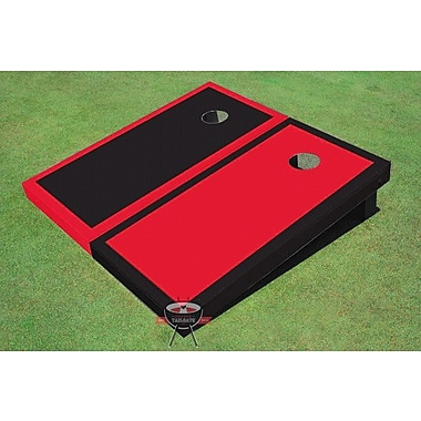All American Tailgate Alternating Border Cornhole Board (Set of 2); Red and Black