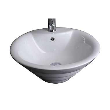 American Imaginations Above Counter Round Vessel Bathroom Sink w/ Overflow; Stainless Steel