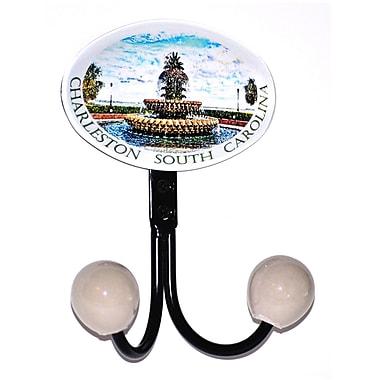 Charleston Knob Company Charleston Fountain Glass Inlay Double Hook