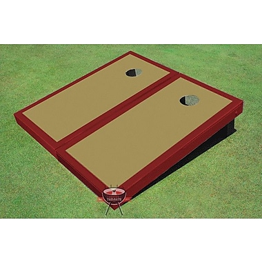 All American Tailgate Matching Border Cornhole Board (Set of 2); Gold and Maroon