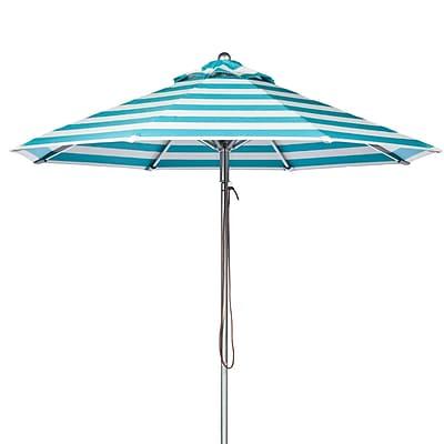 Frankford Umbrellas 9' Market Umbrella; Turquoise and White Stripe