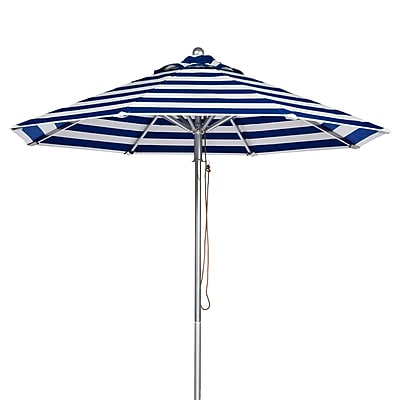 Frankford Umbrellas 11' Market Umbrella; Blue and White Stripe WYF078277684096