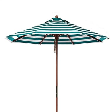 Frankford Umbrellas 7.5' Market Umbrella; Teal and White Stripe