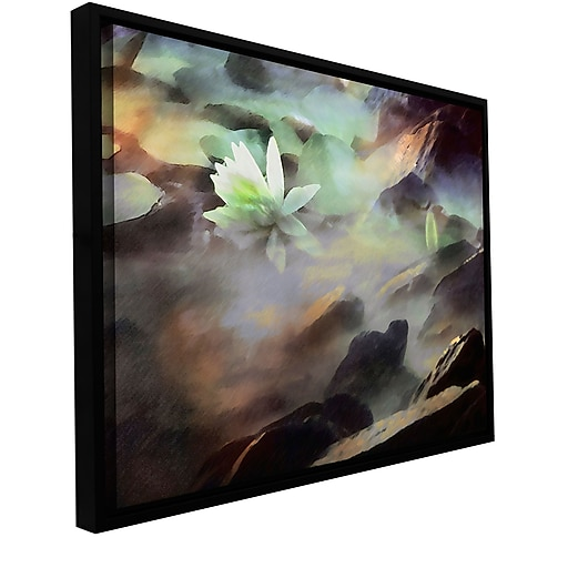 """ArtWall 'Lily In Rocks' Gallery-Wrapped Canvas 36"""" x 48"""" Floater-Framed (0uhl058a3648f)"""