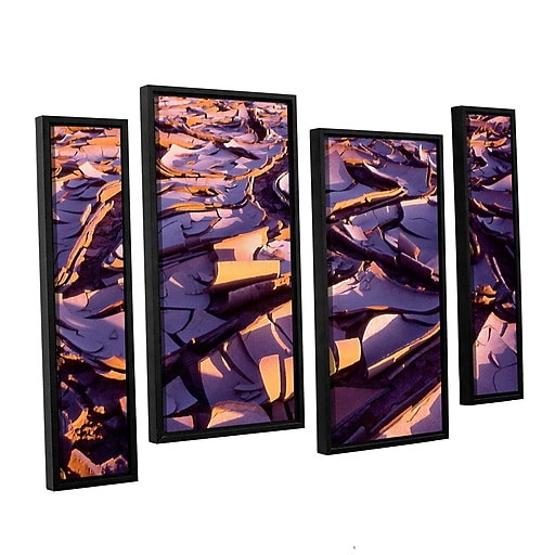 """ArtWall 'Barro Magnifico' 4-Piece Canvas Staggered Set 24"""" x 36"""" Floater-Framed (0uhl103i2436f)"""