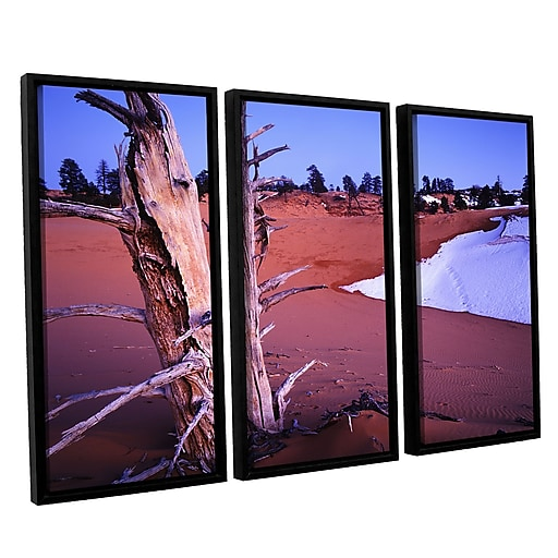 "ArtWall 'Coal Dunes Dusk' 3-Piece Canvas Set 36"" x 54"" Floater-Framed (0uhl107c3654f)"