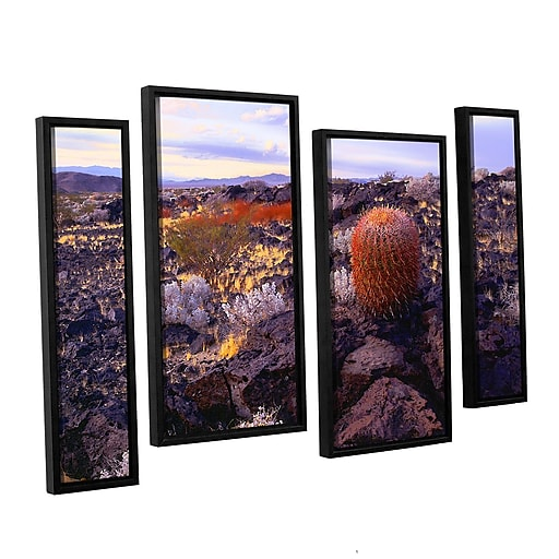 "ArtWall ""In The Mojave"" 4-Piece Canvas Staggered Set 36"" x 54"" Floater Framed (0uhl110i3654f)"