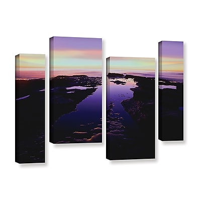 ArtWall 'Low Tide Afterglow' 4-Piece Staggered Set Gallery-Wrapped Canvas 24