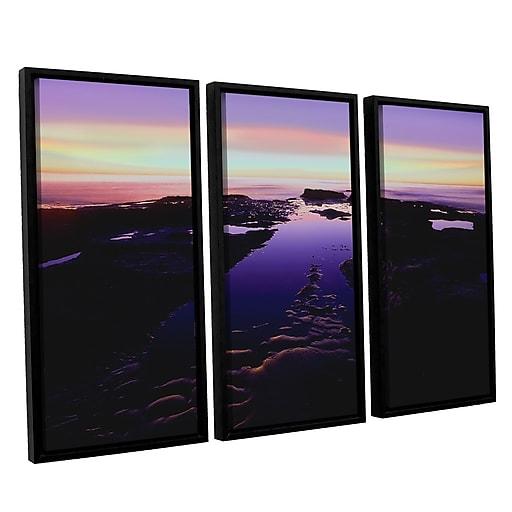 "ArtWall ""Low Tide Afterglow"" 3-Piece Canvas Set 36"" x 54"" Floater-Framed (0uhl113c3654f)"