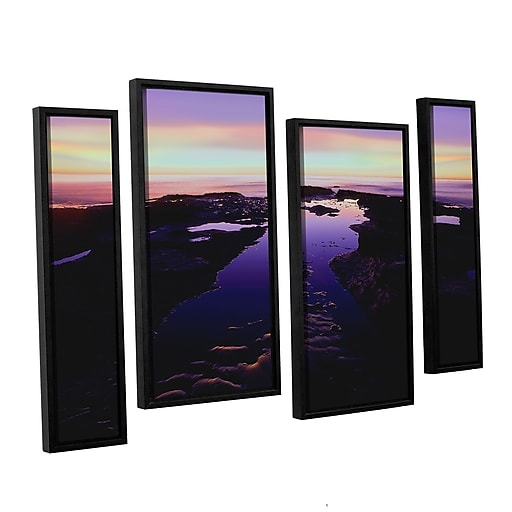 """ArtWall """"Low Tide Afterglow"""" 4-Piece Canvas Staggered Set 24"""" x 36"""" Floater-Framed (0uhl113i2436f)"""