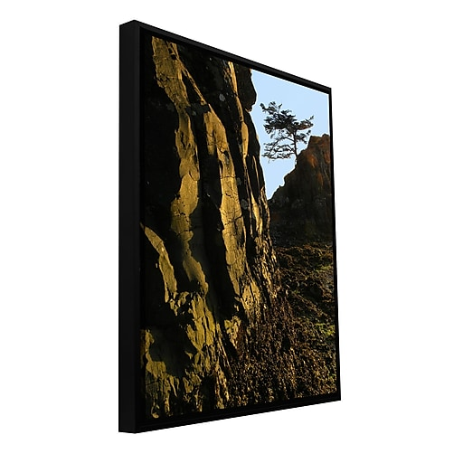"ArtWall 'Oregon Coast Sunset' Gallery-Wrapped Canvas 14"" x 18"" Floater-Framed (0uhl116a1418f)"