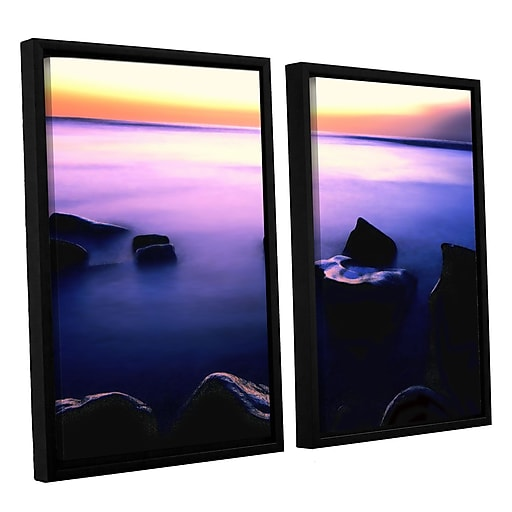 "ArtWall ""Pacific Afterglow"" 2-Piece Canvas Set 24"" x 32"" Floater Framed (0uhl117b2432f)"