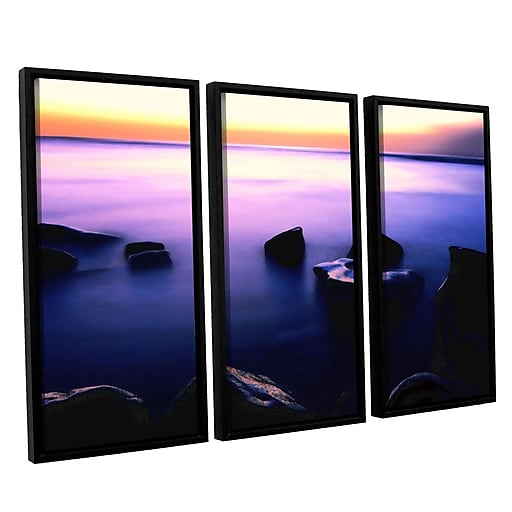 """ArtWall 'Pacific Afterglow' 3-Piece Canvas Set 36"""" x 54"""" Floater Framed (0uhl117c3654f)"""