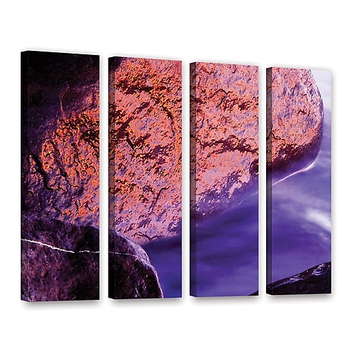 """ArtWall """"Rock Surf And Sunset"""" 4-Piece Gallery-Wrapped Canvas Set 36"""" x 48"""" (0uhl120d3648w)"""