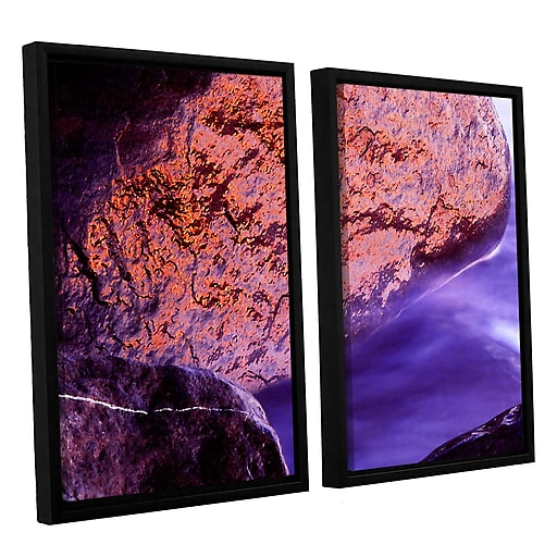 "ArtWall 'Rock Surf And Sunset' 2-Piece Canvas Set 24"" x 32"" Floater-Framed (0uhl120b2432f)"