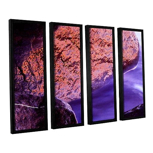 "ArtWall ""Rock Surf And Sunset"" 4-Piece Canvas Set 36"" x 48"" Floater-Framed (0uhl120d3648f)"