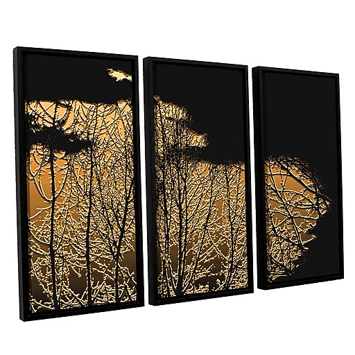"ArtWall 'Break In The Storm' 3-Piece Canvas Set 36"" x 54"" Floater Framed (0uhl126c3654f)"