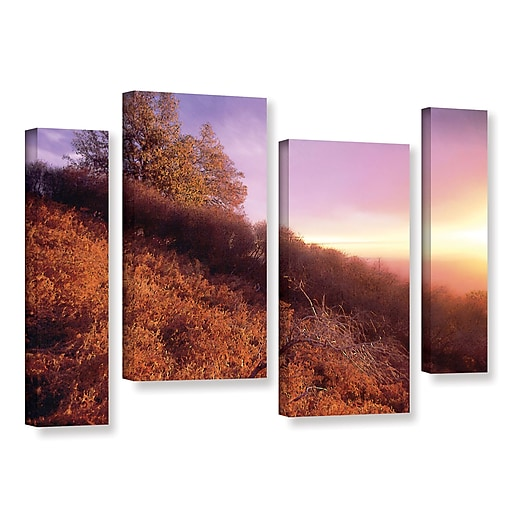 """ArtWall 'Fire Light' 4-Piece Gallery-Wrapped Canvas Staggered Set 24"""" x 36"""" (0uhl134i2436w)"""