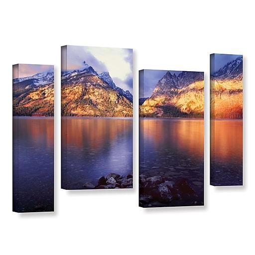 "ArtWall ""Jenny Lake Sunrise"" 4-Piece Gallery-Wrapped Canvas Staggered Set 36"" x 54"" (0uhl136i3654w)"