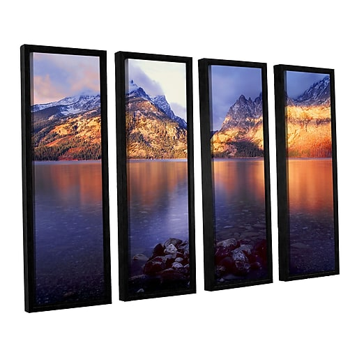 "ArtWall 'Jenny Lake Sunrise' 4-Piece Canvas Set 36"" x 48"" Floater-Framed (0uhl136d3648f)"