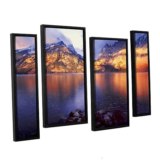"ArtWall ""Jenny Lake Sunrise"" 4-Piece Canvas Staggered Set 36"" x 54"" Floater-Framed (0uhl136i3654f)"