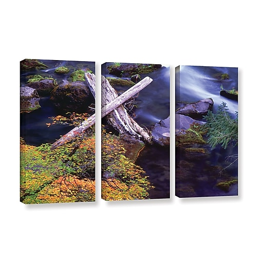 """ArtWall 'Rogue River Falls' 3-Piece Gallery-Wrapped Canvas Set 36"""" x 54"""" (0uhl137c3654w)"""