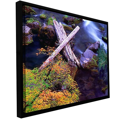 "ArtWall 'Rogue River Falls' Gallery-Wrapped Canvas 24"" x 32"" Floater-Framed (0uhl137a2432f)"