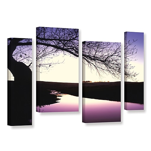 """ArtWall """"Squaw Valley Twilight"""" 4-Piece Gallery-Wrapped Canvas Staggered Set 36"""" x 54"""" (0uhl139i3654w)"""