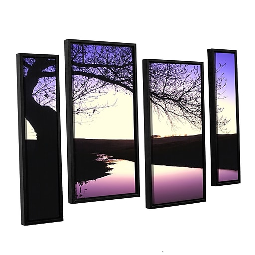 "ArtWall ""Squaw Valley Twilight"" 4-Piece Canvas Staggered Set 24"" x 36"" Floater-Framed (0uhl139i2436f)"